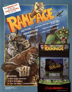 Arcade flyer for Rampage, a titanic monster beat-em-up released by Bally Midway in 1986