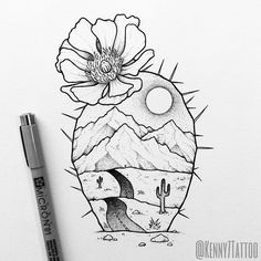 cactus with landscape!Flowering cactus with landscape! Wüsten Tattoo, Tattoo Photo, Tattoo Drawings, Flower Tattoo Designs, Flower Tattoos, Wolf Sketch Tattoo, Edinburgh Tattoo, American Traditional Rose, Tribal Scorpion Tattoo