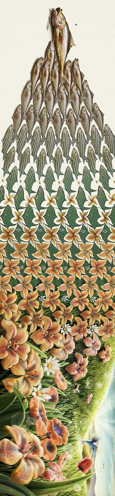 It is simply stunning and seems to have taken a leaf out of M.C Escher's book, so to speak. They were designed by talented artist, Oscar Ramos. #illustration #pattern #wow