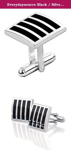 Everydaysource Black / Silver Square Version 2 Cufflinks. 1X Cufflinks, Black / Silver Square Version 2. The Black / Silver Square version 2 Cufflinks will definitely add a modern and stylish accent to your attire. Bowed front, rhodium plated with vertical black stripes, these cufflinks ensure to give every man the perfect touch of elegance for his tuxedo. Be impressive for both formal and informal occasions. Prepare for the simple yet stylish look you will appreciate. Color: Black…