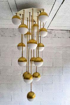 Italian Brass and Glass Chandelier By Stilnovo, 1965.