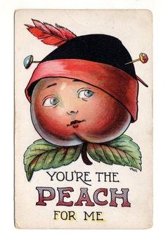 1911 ANTHROPOMORPHIC FRUIT Postcard YOU'RE THE PEACH FOR ME Signed WALL • $5.90…