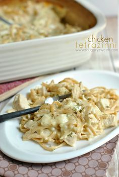 Chicken Tetrazzini - Shugary Sweets 16 oz thin spaghetti, cooked (or any of your favorite noodles) ½ cup butter (plus more for buttering pan) 4 chicken breasts, cooked, diced 2 cans cream of chicken soup 2 cup sour cream ½ cup dry white wine (I use Beringer, but you can also use cooking wine) 1 tsp kosher salt 1/2 tsp ground black pepper 2 Tbsp parmesan cheese 2 cup shredded mozzarella cheese