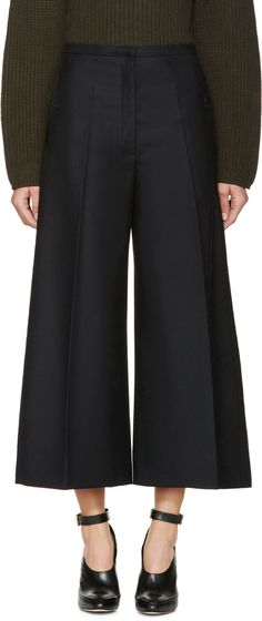 Lemaire - Navy Wide-Leg Cropped Trousers