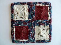 "Locker Hooking Mat / Hot Pad / Trivet - Multi Color - Barn Red, White, Green, Blue - 10"" x 10"" by DocksideDesigns on Etsy"