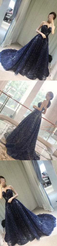 Unique V-neck Prom Gown,Strapless Navy Blue Sparkly Evening Dress,Sexy Prom Gowns M0476#prom #promdress #promdresses #longpromdress #promgowns #promgown #2018style #newfashion #newstyles #2018newprom#eveninggowns#navybluepromgown#sparklypromdress