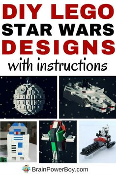 Incredible LEGO Star Wars builds that include free instructions are available. We rounded up the best of the best and there are a bunch of great builds that you and your kids can make. For all of the DIY LEGO Star Wars designs click the image. You are goi Lego Design, Lego Darth Vader, Darth Maul, Star Wars Karten, Legos, Deco Lego, Modele Lego, Construction Lego, Star Wars Personajes