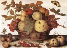 Hand painted oil painting reproduction on canvas of Basket of Fruits by artist Balthasar van der Ast as gift or decoration by customer order. Rotten Fruit, The Falling Man, Dutch Golden Age, The Son Of Man, Oil Painting Reproductions, Rose Cottage, Vanitas, Fresh Fruit, Still Life