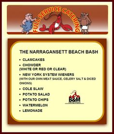 Narragansett Beach Bash - B&M Catering - Clamcakes, Chowder, New York System Wieners, Cole Slaw and more.  #Event planning, #reunion   www.clambakeco.com