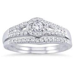 0.4 ct Round D/VVS1 Diamond Solitaire W/Accents Bridal Ring  Set 14k White Gold #Jewelsbyeanda