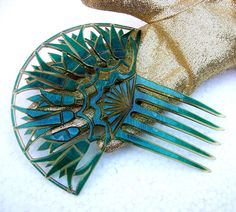 Art Deco Hair Comb Turquoise Moire Effect Egyptian Revival