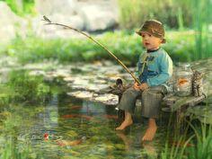 So sweet # little boy fishing