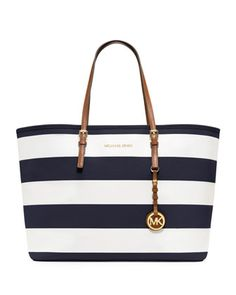 MICHAEL Michael Kors  Medium Jet Set Striped Travel Tote. Love!!! Navy blue and stripes!!!