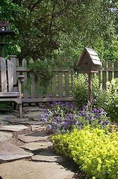 stone flowers bird house bench - cute
