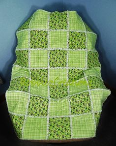 Boy or Girl Crib Rag Quilt Fun Frogs and Plaid Flannel  35 x 49 Toddler Bed Carseat Cover Throw Blanket