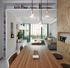 Bloesem Living | Chipwood home in Singapore. Book surround, linear design, window, use of space
