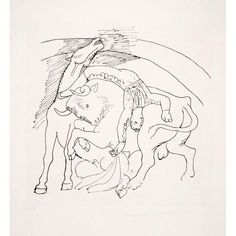 Artist: Pablo Picasso, After, Spanish - Title: Taureau et Cheval Year of Original: 1921 Medium: Lithograph on Arches Paper Edition:. Picasso Prints, Pablo Picasso Drawings, Picasso Sketches, Picasso Art, Art Drawings, Human Anatomy Drawing, Body Drawing, Trinidad, Dragon Figurines