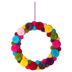 Pom Pom Wreath - easy to diy Pom Pom Crafts, Yarn Crafts, Diy And Crafts, Crafts For Kids, Arts And Crafts, Diy Pompon, Pom Pom Wreath, Red Pom Poms, Holiday Crafts