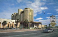 """Aladdin, Las Vegas, 1975. The original Aladdin replaced a 3-year old motel-casino called Tally Ho in 1966, beginning a series of major renovations and expansions under a series of different owners. It's major renovation in 1975 was this """"29 story tower,"""" which was actually a 19-story tower that started at floor 11. After two decades, 8 owners and a couple bankruptcies, it was imploded in 1998."""