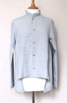 SHIRIN GUILD linen button top shirt blouse pale blue SMALL in Clothes, Shoes & Accessories, Women's Clothing, Tops & Shirts | eBay