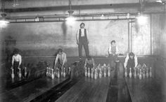 In the 1960s, professional bowlers were the sporting world's rockstars; today, most of them struggle to get by. This picture shows NYC subway bowling alley pinsetters in 1910.