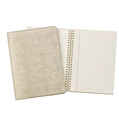 """9"""" Wire-O-Notebook; Beige Embossed Ring Lizard Leather"""
