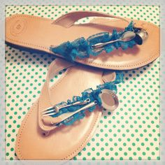 Handmade leather sandals with blue lace and metal miniature cutlery