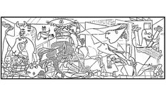 Guernica by Pablo Picasso coloring page from Pablo Picasso category. Select from 21162 printable crafts of cartoons, nature, animals, Bible and many more. Pablo Picasso, Picasso Guernica, Georges Seurat, Free Printable Coloring Pages, Free Coloring Pages, Henri Matisse, Picasso Paintings, Art Plastique, Art History