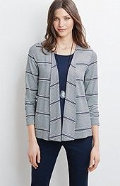 jjill Wearever striped easy jacket -  deep blue/ivory stripe - goes with pants and skirt from collection - same wrinkle free knit, goes with solid tank to match pants and skirt!
