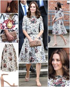 The Duchess wore a new ensemble from an old-favourite label as she and William visited Gdansk today. Kate opted for Erdem for today's series engagements. Looks Kate Middleton, Estilo Kate Middleton, Princess Kate Middleton, Kate Middleton Prince William, Prince William And Kate, Duchess Kate, Duchess Of Cambridge, Kate And Meghan, Mode Outfits
