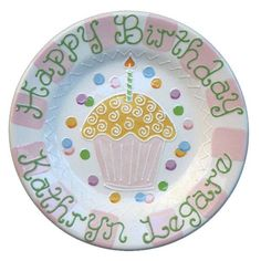 Cupcake Personalized Birthday Plate (available in Pink or Blue)  For That Occasion  sc 1 st  Pinterest & Decorated Cake Personalized Birthday Plate :: For That Occasion ...