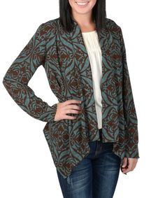Look at this Teal Damask Open Cardigan on #zulily today!