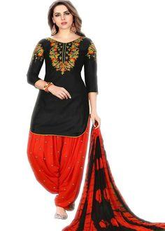 5b6e977db2 Ravishing Red And Black Glaze Cotton Embroidered Festive Wear Patiyala  Salwar Kameez Festival Wear, Party