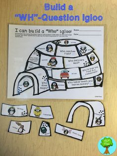 "Build ""Wh""-question igloos by answering ""Who"", ""What"", ""Where"", ""When"" and ""Why"" questions. This speech therapy activity uses cute penguin picture cues for students who are non-readers or benefit from visual cues. Repinned by SOS Inc. Resources pinterest.com/sostherapy/."
