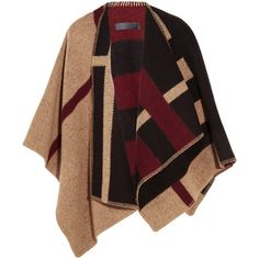 Burberry London London checked wool and cashmere-blend wrap (82,265 PHP) ❤ liked on Polyvore featuring jackets, camel and burberry