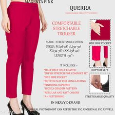 Trousers & Pants Pretty Fabulous Women Women Trousers  Fabric: Cotton Lycra Sizes:  34 (Waist Size: 34 in, Length Size: 37 in)  36 (Waist Size: 36 in, Length Size: 37 in)  26 (Waist Size: 26 in, Length Size: 37 in)  38 (Waist Size: 38 in, Length Size: 37 in)  28 (Waist Size: 28 in, Length Size: 37 in)  40 (Waist Size: 40 in, Length Size: 37 in)  30 (Waist Size: 30 in, Length Size: 37 in)  32 (Waist Size: 32 in, Length Size: 37 in)  Country of Origin: India Sizes Available: 26, 28, 30, 32, 34, 36, 38, 40, 42   Catalog Rating: ★4.3 (963)  Catalog Name: Pretty Designer Women Women Trousers CatalogID_2701679 C79-SC1034 Code: 903-13711338-327