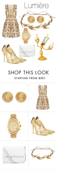 """""""Lumière"""" by its-massieee ❤ liked on Polyvore featuring Versace, Alice + Olivia, Michael Kors, Lumière, Oscar de la Renta, Tory Burch and Jennifer Behr"""