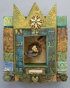Shadowbox shrine icon by LaurieMika on Etsy Mixed Media Canvas, Mixed Media Art, 3d Canvas Art, Altered Book Art, Altered Boxes, Altar Design, Mika, Art Beat, Burlap Projects