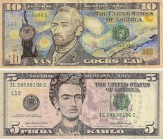 creative illegal art- James Charles turns US currency into Van Gogh and Frita !