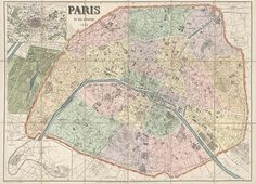 Antique Map of Paris, France from 1878