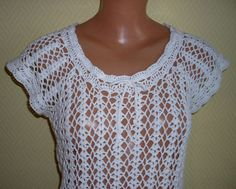 Crochet Top White by zinafelt on Etsy