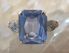 Art Deco gold Aquamarine and Diamond Ring from 2271668 on Ruby Lane Old Jewelry, Art Deco Jewelry, Antique Jewelry, Jewelery, Vintage Jewelry, Vintage Diamond Rings, Antique Rings, Vintage Rings, 14k Gold Ring