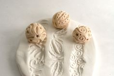 Clay Texture Stamp One RANDOM Small Sculpture Ball -- Ceramic Pottery Poly Clay Metal Clay