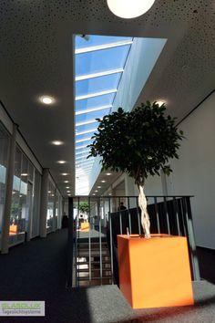 Diese GLASOLUX Pultdach Lichtbänder beleuchten nicht nur das Treppenhaus dieses Firmengebäudes, sondern sind auch optisch eine gelungene Ergänzung zur Innenarchitektur. Blinds, Curtains, Home Decor, Interior Designing, Decoration Home, Room Decor, Shades Blinds, Blind, Draping