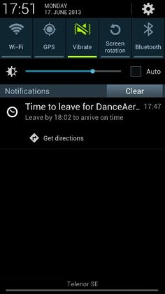 Google now notification: Leave now to reach the [calendar event goes here] on time