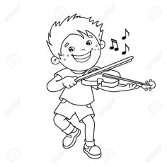 Coloring Page Kids Playing Coloring Page Outline Of Cartoon Boy Playing The Violin Musical Instruments Coloring Book For Kids - Kroblo Baby Coloring Pages, Doodle Coloring, Cartoon Coloring Pages, Free Printable Coloring Pages, Coloring Pages For Kids, Coloring Books, Football Coloring Pages, Free Doodles, Book Costumes