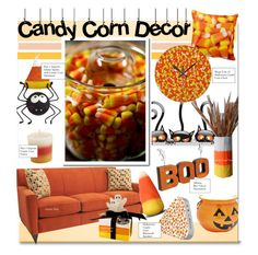 """""""Candy Corn Decor"""" by kusja ❤ liked on Polyvore featuring interior, interiors, interior design, home, home decor, interior decorating, Pier 1 Imports, Sur La Table, Allstate Floral and Halloween"""