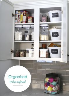 Organized kitchen cupboards -love those containers! #bhglivebetter