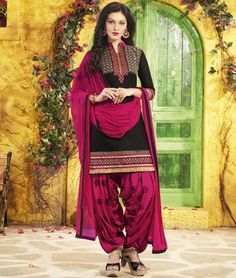 8b036a5d55 Black pure cotton embroidered unstitched salwar with dupatta
