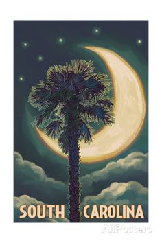 South Carolina - Palmetto Moon and Palm Poster by Lantern Press at AllPosters.com